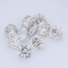 10 Natural Round Brilliant Diamonds – 0.43 ct. - no reserve price