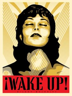 Shepard Fairey (OBEY) - Wake Up (Cream)