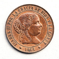 Spain – Isabel II – 2 1/2  centimos de escudo, copper – 1868 – Barcelona