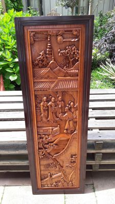 Woodcarved panel – China – Second half of the 20th century