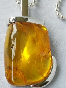 Silver necklace and steel necklace pendant with amber, handmade  by M. Martini - never worn.