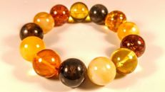 Round beads modified Baltic Amber mixed colour bracelet, diameter beads: ca. 18 mm