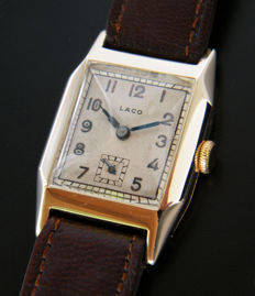LACO - Solid Gold german men's wristwatch from 1930s - very rare.