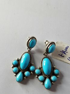 Unique Navajo design earrings with turquoise (sleeping beauty) – never worn