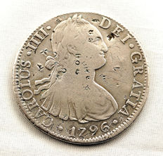 Spain – King Carlos IV – 8 silver reales coin – Year 1795 – Mexico.