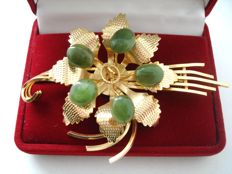 Vintage (1970s) - Gold plated Filigree crafted large flower Brooch in Swoboda style - Excellent