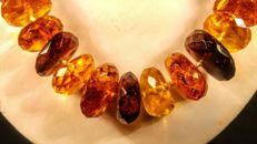 Baltic Amber necklace with faceted flat beads modified colour, length 51 cm,  47 grams