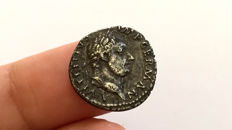 Roman Empire - Vitellius (AD 69). AR Denarius. Spanish mint (Tarraco?), January-June AD 69. Victory SPQR/ Rare