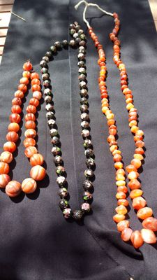 Lot of 3 necklaces - Two carnelian necklaces and one cloisonné necklace