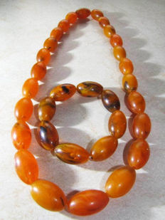 Baltic Amber Set Necklace and Bracelet, No reserve