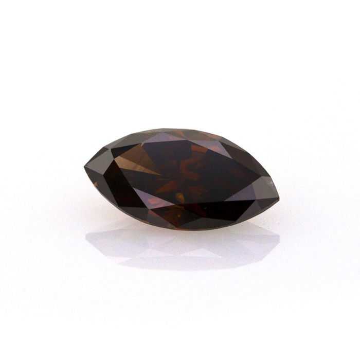Natural fancy dark brown VS2 2.10 ct marquise cut diamond, IGI Certified