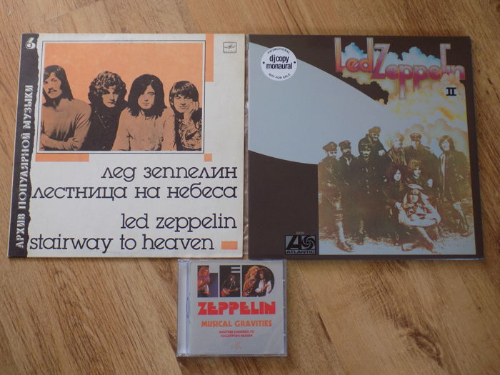 "Led Zeppelin "" 2 "" blue vinyl dj copy LP ,Stairway To Heaven Russian press LP and Musical Gravities CD."
