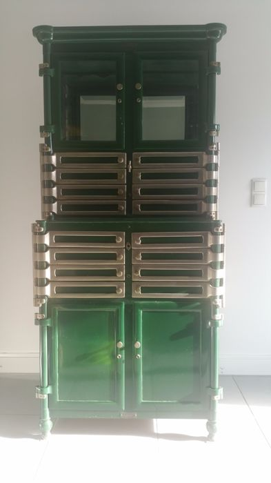Bown Dental Cabinets U2013 Industrial Dental Cabinet In Steel And Brass With 12  Drawers