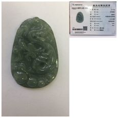 Vintage Chinese light green jadeite carved pendant depicting a dragon, with certificate