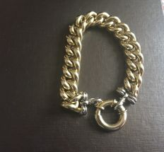 Curb chain bracelet in 18 kt gold, weight: 43 g