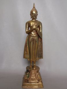 Yellow copper standing Buddha – Thailand – late 20th century