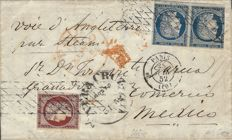 France 1852 - Letter to Mexico City with 1 carmine franc, Yvert No. 6 and Pair of blue 25 cents, Yvert No. 4 Signed Roumet with Certificate