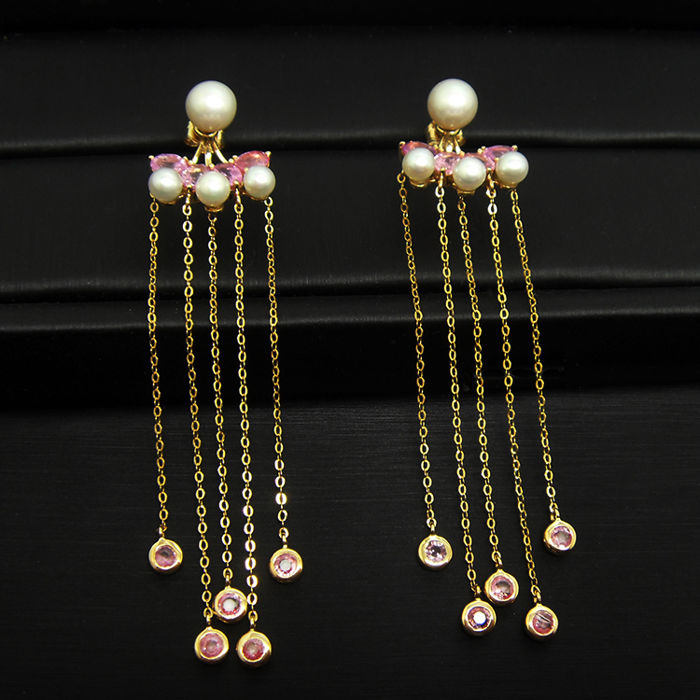 18K gold with sapphires and freshwater pearl earrings