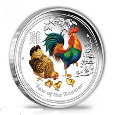 Australia -  1 AUD - 1 oz Lunar II Year of the Rooster  - 1 oz - 999 Silver in Fine Colour Edition