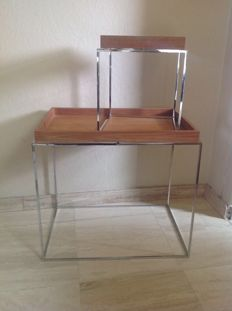 Producer unknown - chrome side tables with separate teak serving trays