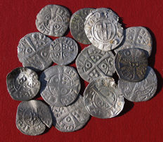 Spain – Beautiful lot of 14 Medieval fleece coins of Jaime I , II , Pedro III , juana and Carlos – XII – XV