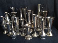 Collection silver plated vases - 20 items