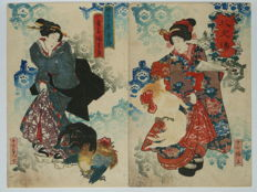 Original, dipyich woodcut from Utagawa Kuniyoshi (1797 - 1861) - Japan - around 1850.