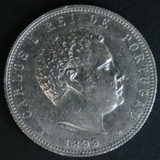 Portugal – 1,000 Silver Reis – 1899 – D. Carlos I – Lisbon – ALMOST UNCIRCULATED