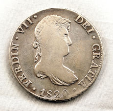 Spain - King Fernando VII - 8 reales silver coin - Year 1820 - Mexico.