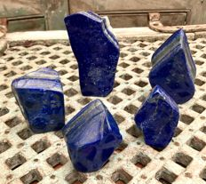 Collection of fine polished Lapis Lazuli tumbles - 7.8 to 13cm - 1.88kg (5)