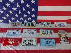Nice set of 10 American license plates - 25838 - AQJ4074 - 989Tx - 668BAQ - 2CJ260 - 85299ST - 88208V - 730PHM - 1831TK - BKN330