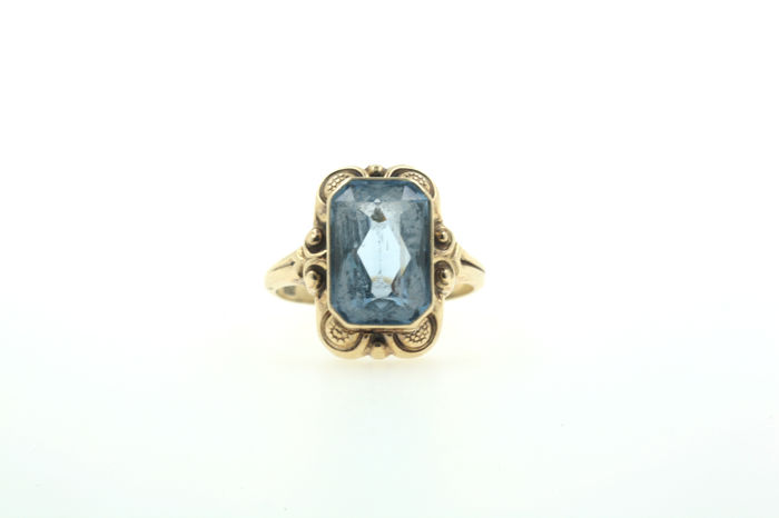 Women's ring 585 gold ring with aquamarine - ring size 52