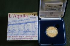 "Italy - 2009 - 10 euros commemorative coin - ""L' Aquila"" - proof - silver"