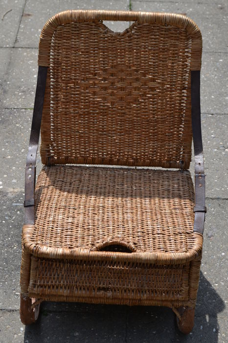 Antique/ Vintage Wicker And Leather Canoe Chair, 1st Half 20th Century