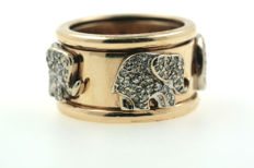A 585 elephant brilliant ring, approx. 2.5 ct VSI W - yellow gold ring size 57 RARE