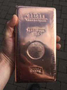 Geiger copper bullion - 5 kg - 5,000 grams 999 copper - Güldengossa Castle Cast Edition