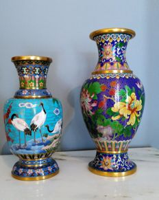 Two Chinese multicolored cloisonne vases - China - second half of the 20th century.