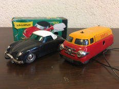 Schuco/Lilliput, Western Germany - Length 11 cm - Tin Shell Varianto Bus 3046 and die cast Porsche 356 Micro-Racer 1047 with clockwork motor, 1960s/90s
