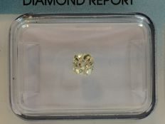 Old mine cut diamond 0.36ct. Natural fancy light greenish yellow SI 2 with IGI certificate, no reserve price