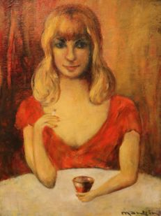 Charles Mangin (1892-1977) - portrait of a woman in a red dress