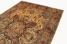 Fine Persian carpet Kashan 3.50 x 2.46 cream handwoven high quality new wool oriental carpet GREAT CONDITION SIGNATURE
