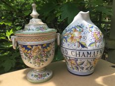Hand painted Deruta pharmacy lidded vase and can
