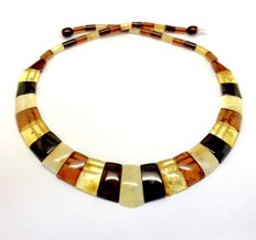 Colourful necklace of natural Baltic Amber slices, width 23 mm,  length 48 cm