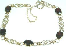 Yellow Gold Vintage  - 6.0 CT Real Natural Garnet Bracelet Stamped