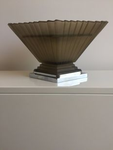 Vase in frosted pressed glass with chrome base