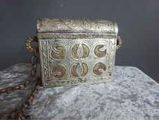 Old Islamic Quran holder, which has been beautifully decorated and has a chain - Middle East - first half of 20th century