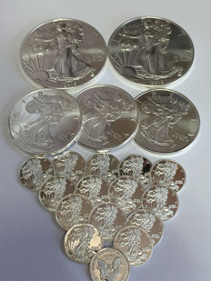 United States - 20 pieces 'silver eagle' coins - 999 silver