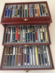 Gorgeous Collection of 50 Different Fountain Pens With Silver and Gold Plated Iridium Nibs in a Three-Drawered Luxury Case