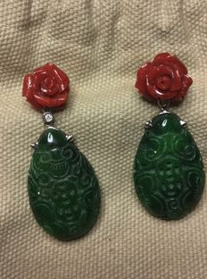 Vintage 18 K Coral & Jade white gold and diamond earrings