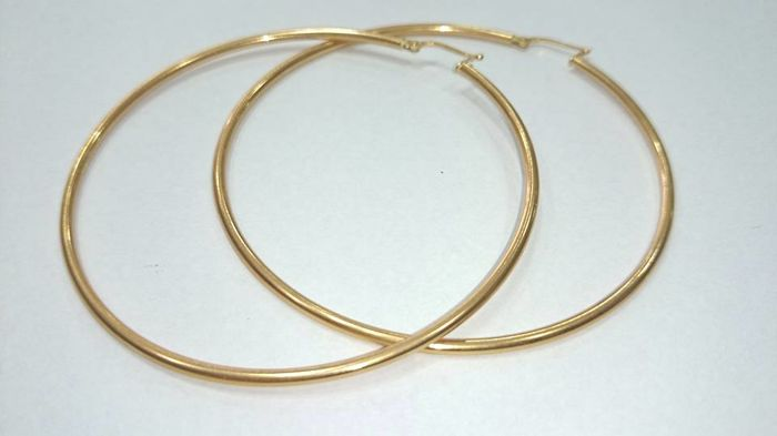 Citaten Hoop Jumbo : Large hoop earrings in kt gold jumbo xxl mm catawiki